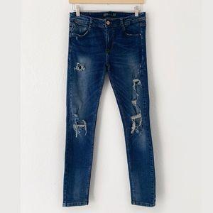 Zara TRF Distressed Blue Skinny Jeans